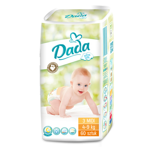 Dada Extra soft 3 MIDI - 60 шт.   4-9 кг - Польские подгузники DADA ... df1d026339c